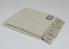 FOXFORD MERINO LAMBSWOOL HOUNDSTOOTH THROW BLANKET RUG IN BONE & WHITE 3300/S16