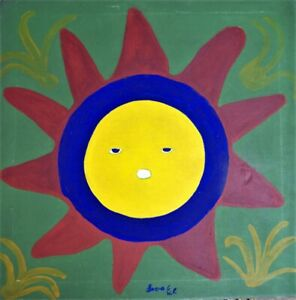 "COLLECTIBLE OUTSIDER ART HAITIAN PAINTING FAMOUS LEVOY EXIL ""SUN"" FOLKART HAITI"