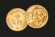 Nr.002 Schweiz Kleinste Goldmünze der Welt 1/4 CHF Albert Einstein 2020 Gold