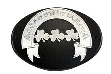 Plaque Pewter Irish Cead Mile Failte Shamrock Mounted on Wooden Base 8436