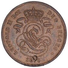 2 centimes 1870 Léopold II Monogramme Lion Belgique SUP - Cuivre