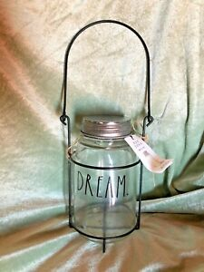 """Rae Dunn """" DREAM """" Mason Jar /Glass Candle Lantern  NWT"""