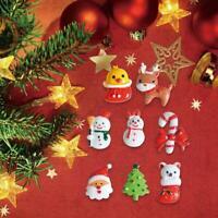 10pcs Cute 3D Resin Christmas Tree Santa Hair Bows Kids Hair Accessories DIY