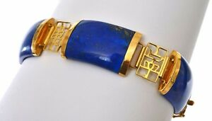 Chinese 14K Gold Lapis Lazuli Carved Carving Link Bracelet Calligraphy Marked