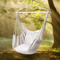 Swing Chair Hammock Hanging Seat Rope Porch Patio Garden Indoor Outdoor Canvas