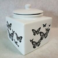 Vintage Neiman Marcus White Black Butterflies Ceramic Cookie Jar Container
