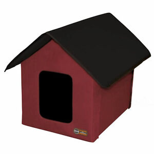 K&H Pet Products Thermo Outdoor Heated Kitty House with 2 Doors, Barn Red, Black