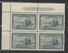 1946 #271 20¢ COMBINE KING GEORGE VI PEACE ISSUE PLATE BLOCK #2 F-VF