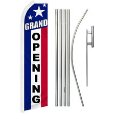 Grand Opening Advertising Swooper Flutter Feather Flag Kit Usa Stars Open Now