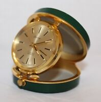 Vtg BERNEY Swiss Travel Alarm Clock 17 Jewels Mechanical Wind Up Pocket Watch