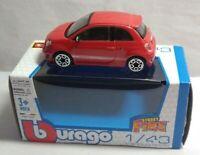 BURAGO STREET FIRE DIECAST 1:43 SCALE FIAT 500 ABARTH - RED - #11511
