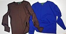 2 x LAUREN Ralph Lauren Petite Ladies 1Brown / 1Blue Top TShirt  Blouse Size P/M