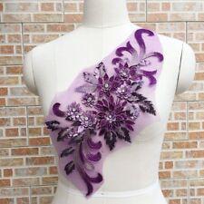 1x Gorgeours Beaded Lace Sequins Applique 3D Flower Patch Motif Costume Wedding