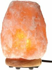 BEAUTIFUL-GENUINE HIMALAYAN SALT LAMP-ON A WOODEN STAND