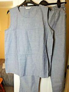 Ladies - Daxon Blue Trousers & Top Set - Size 16 - 100% Cotton