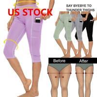 Women's High Waist Yoga Pants Pocket Fitness Sports Capri Leggings Plus Size US
