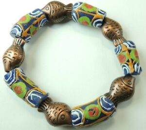 African Trade Bead  Stretch  Bracelet Handcrafted with Fishes