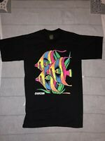 Vintage Cancun Beach Rainbow Angel Fish Black 90s T-Shirt Size Large