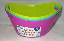 "Mini Party Tubs 3 pack 6 1/4"" x 4 1/4"" Hot Pink/Aqua Blue/Yellow"
