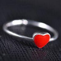 2 Stk. Emaille Rotem Herz Silber Hell Ring Offen Ehering Verstellbar eNwrg