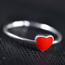 Enamel Red Heart Silver Mid Ring Open Band Adjustable Resizable Women Gift