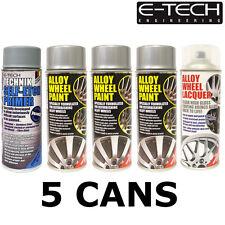 E-Tech 3x Metallic Silver 1x Lacquer 1x Etch Primer Car Alloy Wheel Spray Paint