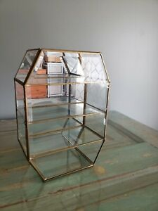 Vtg 4-Tier Glass Mirror Brass Table Top Wall Curio Display Shelf 10 inches tall