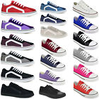 WOMENS CANVAS SHOES PLIMSOLLS FLAT LACE UP PUMPS TRAINERS SIZE UK 3 TO UK 8