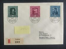 1949 Vaduz Lichtenstein cover to Langenthal Imperfs  # 238a b c Registered