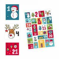 24 Adventskalender Zahlen Aufkleber bunt - eckig - Sticker Weihnachten basteln