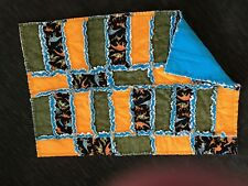 "New custom made Rag Quilt, Yellow and Blue dinosaur 45"" x 30"""