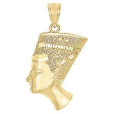 "10K Yellow Gold Nefertiti Egyptian Queen Pendant Mens Ladies 1.5"" Charm 3.3 Gr"
