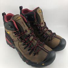 "KEEN Men's Pittsburgh 6"" Steel Toe Waterproof Work Boot Brown/Red Size 13 EE"