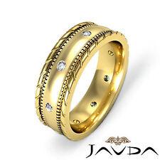 Cut Edges Mens Diamond Ring 18k Yellow Gold Elegant Eternity Wedding Band 0.16Ct