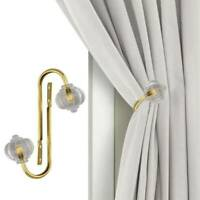 2xMetal Crystal Curtain Holdback Wall Tie Backs Hooks Hanger Holder Decor G9Z