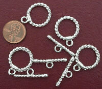 FOUR 20mm STERLING PLATED ROUND TWISTED TOGGLE CLASPS AF3