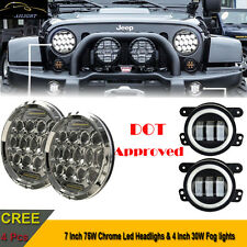 "CREE 7"" Inch Round Led Headlights DRL & 4"" Inch Fog Lights For Jeep Wrangler JK"