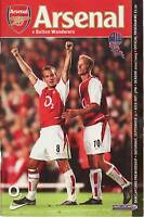 Football Programme - Premiership - Arsenal vs Bolton Wanderers 21/9/2002