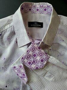BUGATCHI UOMO long sleeve button front shirt ,size large, Purple / White check