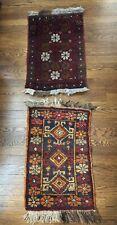 """Pair Of Small Oriental Rugs 16"""" X 28"""" Kilim Wool Vintage Red Orange Brown Black"""