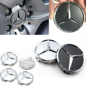 4xSet Wheel Center Caps fit for Mercedes Benz Emblem Logo 75mm Wheel Rim Hub Cap