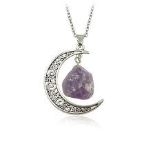 GUT Vintage luna colgante amatista rosa collar de piedra natural irregular