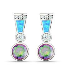 Ópalo plata esterlina Pendientes Círculo Bale Arco Iris