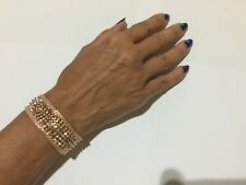 14 K  GOLD PLATED CUFF BRACELET 20 MM WIDE WITH 3 MM BEADS IN MESH DESIGN J 402