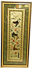 Japanese Style Hand-Embroidered Scene Butterflys and Flowers Green Motif Framed