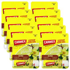 10 x Carmex Vanilla Lip balm Flavored SPF15 Moisturising Dry lips Click stick US