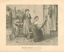 Artist, Art Studio, Model, Fashion, Vintage 1890 German Antique Art Print