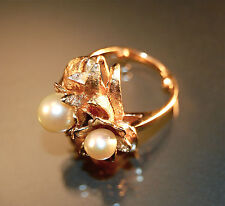 14K Yellow Gold Vintage Pearl Ring with Diamond Accents