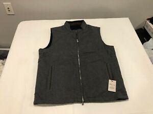 NWT $268.00 Peter Millar Mens Crown Reversible Flannel Vest Gray / Navy Sz LARGE