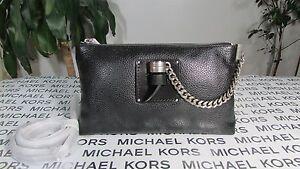 NWT Michael Kors Leather James Large Zip Clutch or Crossbody Bag Black